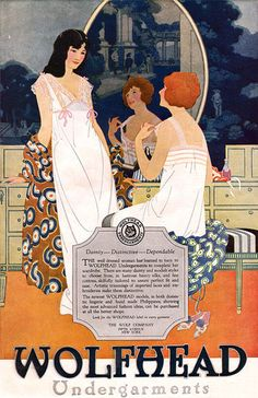 Lovely 1920 Wolfhead Undergarments vintage lingerie ad.