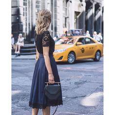 • last day in #nyc • #ootd #wiw #lacedetails #midiskirt #navyandblack : @asharris  outfit... @liketoknow.it www.liketk.it/2kSk3 #liketkit