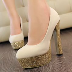 Graceful Sparkling Glitter Apricot Suede Basic Round Closed Toe Chunky Heel Super High Heel Pumps