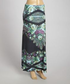 Another great find on #zulily! Blue & Black Floral Maxi Skirt #zulilyfinds