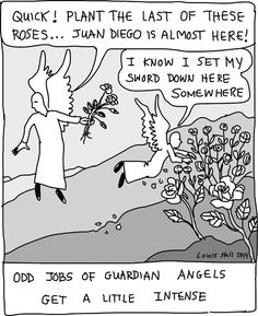 Angelic Twaddle™: Guadalupe, Roses and Juan Diego. So how did those non-native castilian roses, found by Juan Diego in the high desert region... and in December, get there? Created by God instantly or transplanted from Heaven by angels? The angels know and one day some of us will know too.