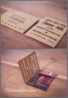 DIY invitation en papier découpé Superbe invitation réalisée par les futurs mariés grâce à une imprimante de découpage (silhouette cameo). Ils ont testé plusieurs typo (je vous conseille le site Dafont), choisi le papier et zoo dans l'imprimante. Seul bémol, l'imprimante coûte un bras, mais les déclinaisons sont infinies, je vous montrerai d'autres possibilités de découpage bientôt.   source :oh so beautiful paper
