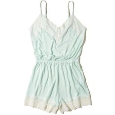 Hollister Lace-Trim Knit Sleep Romper ($30) ❤ liked on Polyvore featuring intimates, sleepwear, mint stripe, lace trim cami, lace trim camisole, v-neck camisoles, strappy cami and knit sleepwear
