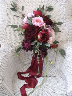 Rose and Dahlia Marsala Cascading Silk Bridal Bouquet #Afloral