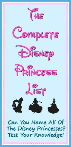 List Of Disney Princesses - Think you can name all the royalty on this Disney Princess List? Test your knowledge, plus learn some fun Disney Princess trivia too! Disney Princess Names, Princess Games, All Disney Princesses, Disney Princess Party, Disney Vacation Club, Disney Trips, Disney Travel, Princess Invitations, Tokyo Disney Sea