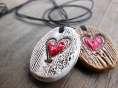 Handmade Essential Oil Diffuser Necklace, Heart Carved into Tree Texture Ceramic Pendant, This One's Mine Ceramic Design