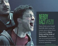 Nerdy Fact #1520: Harry Potter actor Daniel Radcliffe didn't mime his scream upon seeing Sirius Black killed in Harry Potter and the Order of the Phoenix. The sound was cut in post-production because it was determined to be too agonizing. (Source.)