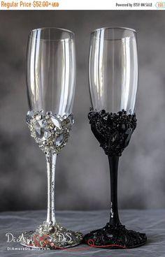 10% OFF cristales de boda gafas negro y plata diamantes de