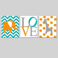 Elephant Giraffe Love Trio Set of Three 8x10 Nursery by Tessyla