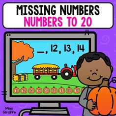 Missing numbers to 20 activity that kids can play as a computer game! They look at the series and pick the pumpkin with the answer - so fun! Giraffe, Comics, Fictional Characters, Felt Giraffe, Giraffes, Cartoons, Fantasy Characters, Comic, Comics And Cartoons