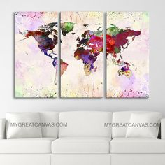 Canvas Print WORLD MAP 3 Panel Canvas Art Print by EDecorShop