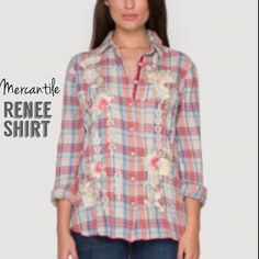 Just arrived! Spring 2015 Renee Shirt. XS-XL. Runs true to size. Plaid pattern, embroidered detailing front to back. Cotton. Made in the Los Angeles, California. $217.