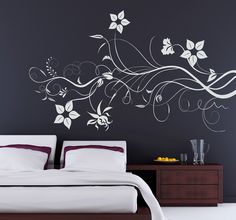 Bedroom wall art. Elegant and classy floral design to decorate your home. Ideal for any space. #Bedroom #Home #DIY #Elegant #BedroomIdeas #WallArt