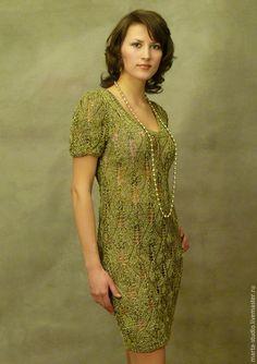 Купить платье листики вискоза - оливковый, однотонный, Платье нарядное, платье летнее, платье коктейльное