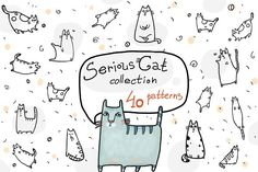 Serious Cat Collection - 40 patterns by BusySausage Art&Design on @creativemarket
