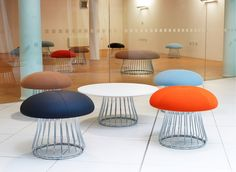 Magic from Boss Design is a playful, compact stool, island unit or coffee table. It is practical, elegant, comfortable and versatile enough to be used in many office or home environments. Iron Furniture, Home Decor Furniture, Office Furniture, Reception Furniture, Furniture Design, Reception Seating, Office Seating, Office Reception, Office Stool