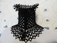 Jewels for Ghouls: Black Beaded Crochet Choker by Scarlet Rabbit. $35.