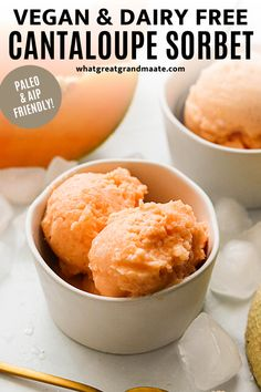 Simple and easy paleo and vegan cantaloupe sorbet made with just 3 ingredients! It's a very quick blender recipe that creates creamy and delicious sorbet with very little added sugar. Such a healthy and fun summer treat! #paleo #vegan #dairyfree #aip #dessert #icecream