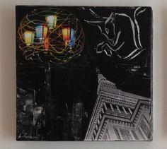 (¯`'•.Torino.•'´¯) quadro dipinto a mano moderno, 30X30 cm