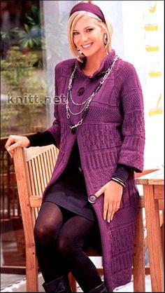 Узорчатое лиловое пальто. Лиловое пальто для прекрасных девушек и женщин. Модель прекрасно смотрится и проста в исполнении. Пальто дополнит Ваш безупречный
