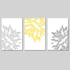 Modern Abstract Painterly Floral  Set of Three Large by Tessyla