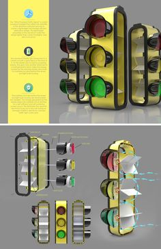 This is a design for a wind powered traffic light to generate and store its own energy which makes it self sustaining. Industrial Design. Product Design.