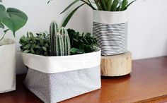 Use this tutorial to DIY fabric planters.