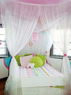 canopy bed DYI All you need are three standard curtain rods, and sheer drapes. Hang the rods on the ceiling over the bed where you want the drapes to fall. One above the head and one on each side are probably sufficient.