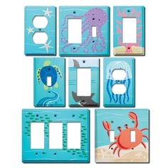 Switch Plate - Custom Hand Painted Wooden Light Switch or Electrical Cover Plate Sea Animal Life Ocean Critter or Any Theme Painted Fan, Hand Painted Walls, Kids Ceiling Fans, Under The Sea Animals, Childrens Lamps, Finials For Curtain Rods, Best Baby Shower Gifts, Switch Plates, Plates On Wall