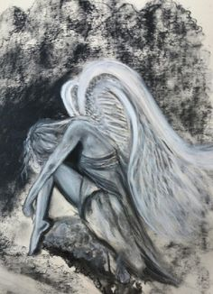 White pastel and charcoal Angel art