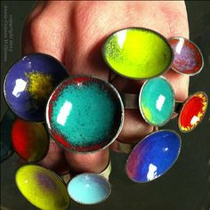 Annie Grimes Williams, jewelry artist; enamel rings.