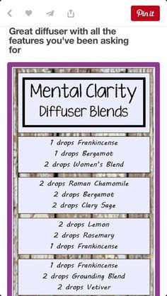 Mental clarity diffuser blends