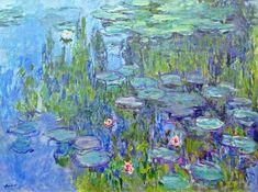 Claude Monet Water Lilies / Nymphéas teal aqua Wall Tapestry by purelove Claude Monet, Water Lilies Painting, Monet Water Lilies, Monet Paintings, Impressionist Paintings, Arte Pop, Art Techniques, Painting Inspiration, Art Lessons
