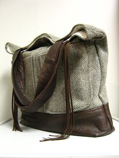 Large Upcycled Leather and Wool Tweed Bag soft leather from a vintage jacket and wool tweed from a vintage mens suit jacket.