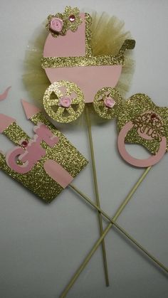 Pink and Gold Baby Shower Centerpiece by fourDOLLYSboutique                                                                                                                                                                                 More