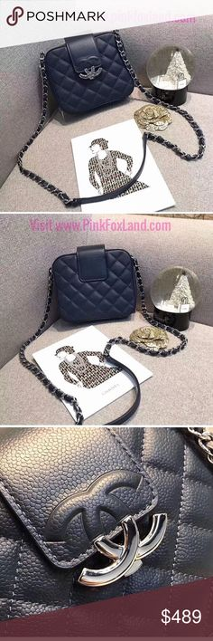 Chanel navy blue leather shoulder handbag small New. Highest of highest quality 5A. Come with box, dust bag, camellia flower, ribbon, receipt, leather care and shopping bag. It also got matching serial number with original. You can purchase here or at lower price at www⏺pinkfoxland⏺com CHANEL Bags Cosmetic Bags & Cases
