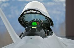F-22 Heads Up Display with pilot in open cockpit