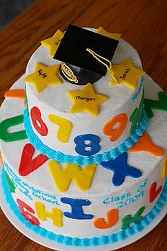 Pre k or kindergarden graduation cake   I want to make this for my son this Friday but it looks super complicated....