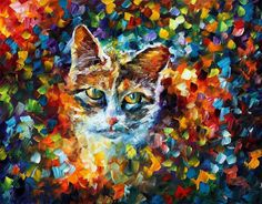 """Charming Cat — PALETTE KNIFE Animals Contemporary Impressionist Art Oil Painting On Canvas By Leonid Afremov - Size: 30"""" x 24"""" (75 x 60 cm)"""
