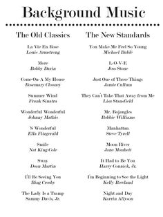 wedding songs Enjoy these 20 Jazz Standards for Your Dinner Party Playlist. Party and Hosting Tips and Hacks for the Holidays - Thanksgiving, Christmas, Cookie Exchanges and Beyond on Frugal Coupon Living. Party Playlist, Wedding Playlist, Song Playlist, Wedding Song List, Road Trip Playlist, Jazz Standard, Music Mood, Mood Songs, Pop Music