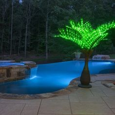Green lighted palm trees take summer pool parties to the next level! Place a few palm trees around the pool and backyard to create your own outdoor oasis this year! Backyard Pool Landscaping, Backyard Pool Designs, Small Backyard Design, Backyard Retreat, Landscaping Ideas, Pergola Ideas, Pergola Kits, Small Pool Backyard, Backyard Ideas