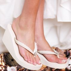 Ivory High Wedge Bridal Flip Flops with Sequins & Crystals--Solution to my crazy heels!!