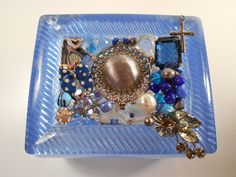 Vintage Jeweled Periwinkle Lucite Box, Plastic Box Adorned with Old Jewelry, Blue Lucite Box with old Jewelry, Chaos to Christ Box by ChaostoChrist on Etsy