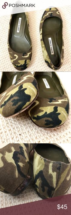 MANOLO BLAHNIK ARMY CAMO  PRINT BALLET FLATS  8 Manolo Blahnik classic ballerina shape flats.  Leather sole, leather lined & canvas upper.  Green and black.  Size 38.5.  Will fit Us size 8. Manolo Blahnik Shoes Flats & Loafers
