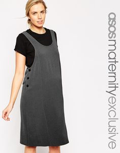 ASOS+Maternity+Pinafore+Midi+Dress+In+Texture