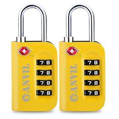 2 Pack - 3Digit Combination Steel Padlocks Approved Travel Lock TSA Luggage Locks