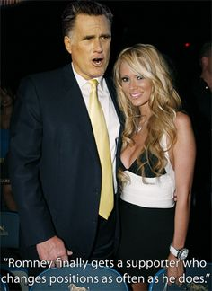 """""""Ex-porn queen Jenna Jameson gave her endorsement to GOP presidential candidate Mitt Romney on Friday, explaining plainly: 'When you're rich, you want a Republican in office.'"""""""