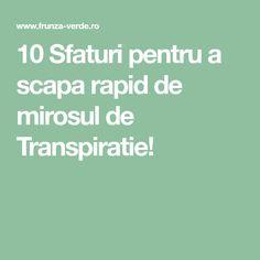 10 Sfaturi pentru a scapa rapid de mirosul de Transpiratie! Good To Know, Deserts, Healthy, Pharmacy, Diet, Green, The Body, Postres, Dessert