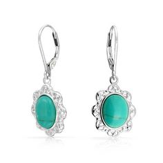 Bling Jewelry Oval Reconstituted Turquoise Leverback Earrings 925 Silver Filigree >>> Learn more by visiting the image link. (This is an affiliate link and I receive a commission for the sales)