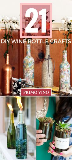 Repurpose your used wine bottles and create functional art at the same time with a plethora of crafty goodness ranging from wine bottle serving dishes to wine bottle soap dispensers and everything in  (Bottle Painting)